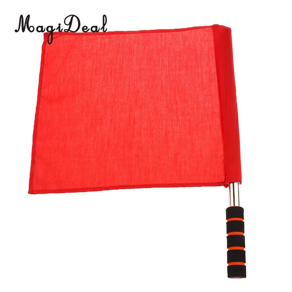 MagiDeal professioanl 1 шт. спортивные ручной команда флаг Нержавеющаясталь судья флаг трек и поля сигнала флаг 4 цвета выбрать