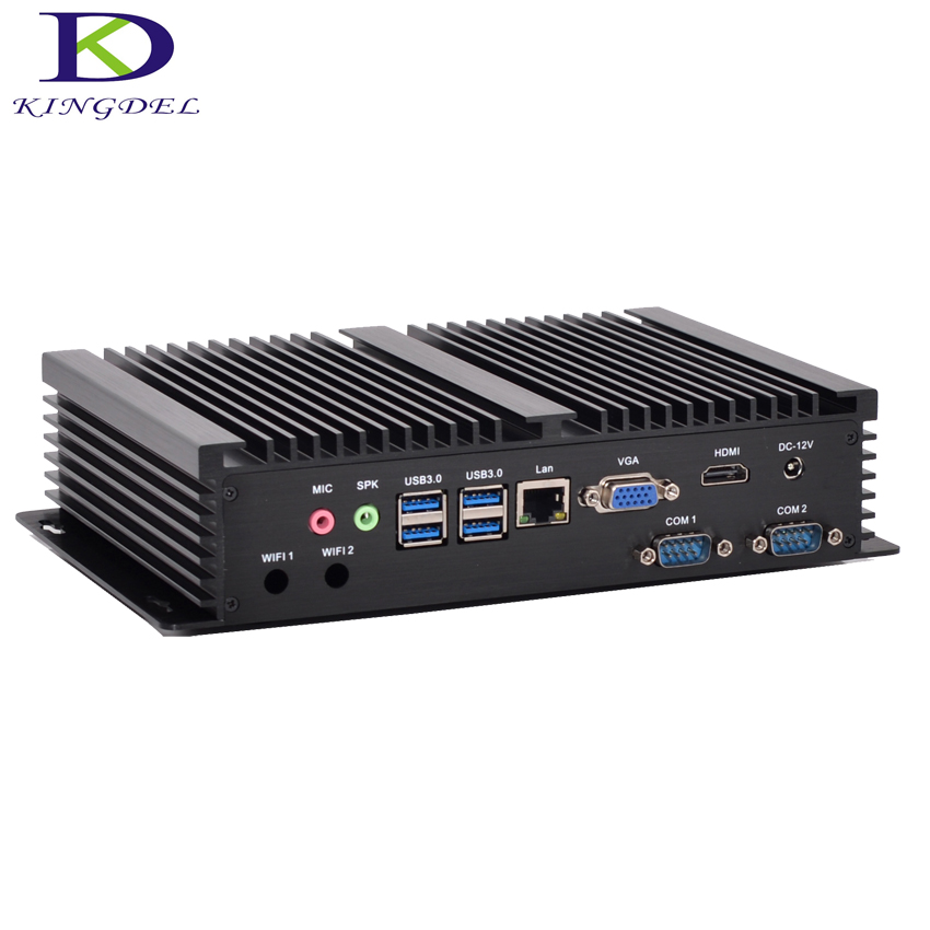 Kingdel Fanless Industrial PC Dual Core I3 5005U Mini Computer 2.0GHz 3M Cache Intel HD Graphics 5500 8G RAM 256G SSD 2COM HDMI