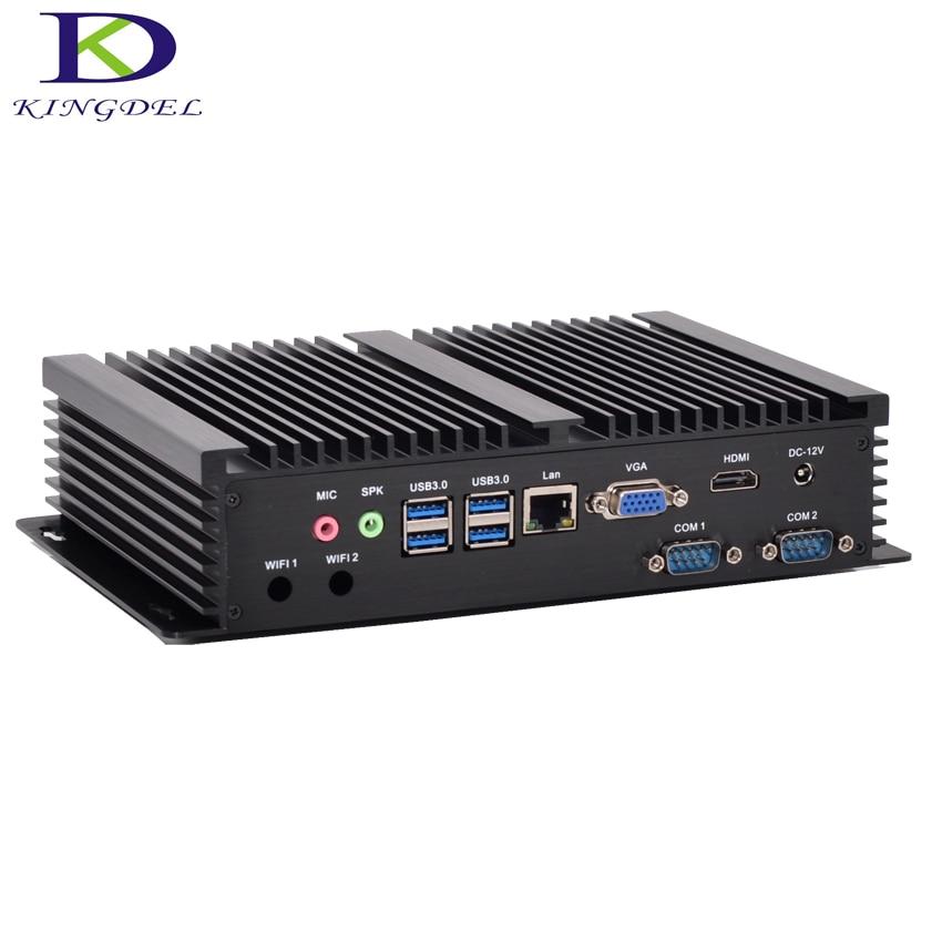 Kingdel Fanless Industrial PC Dual Core I3 5005U Mini Computer 2.0GHz 3M Cache Intel HD Graphics 5500 8G RAM 256G SSD 2COM HDMI