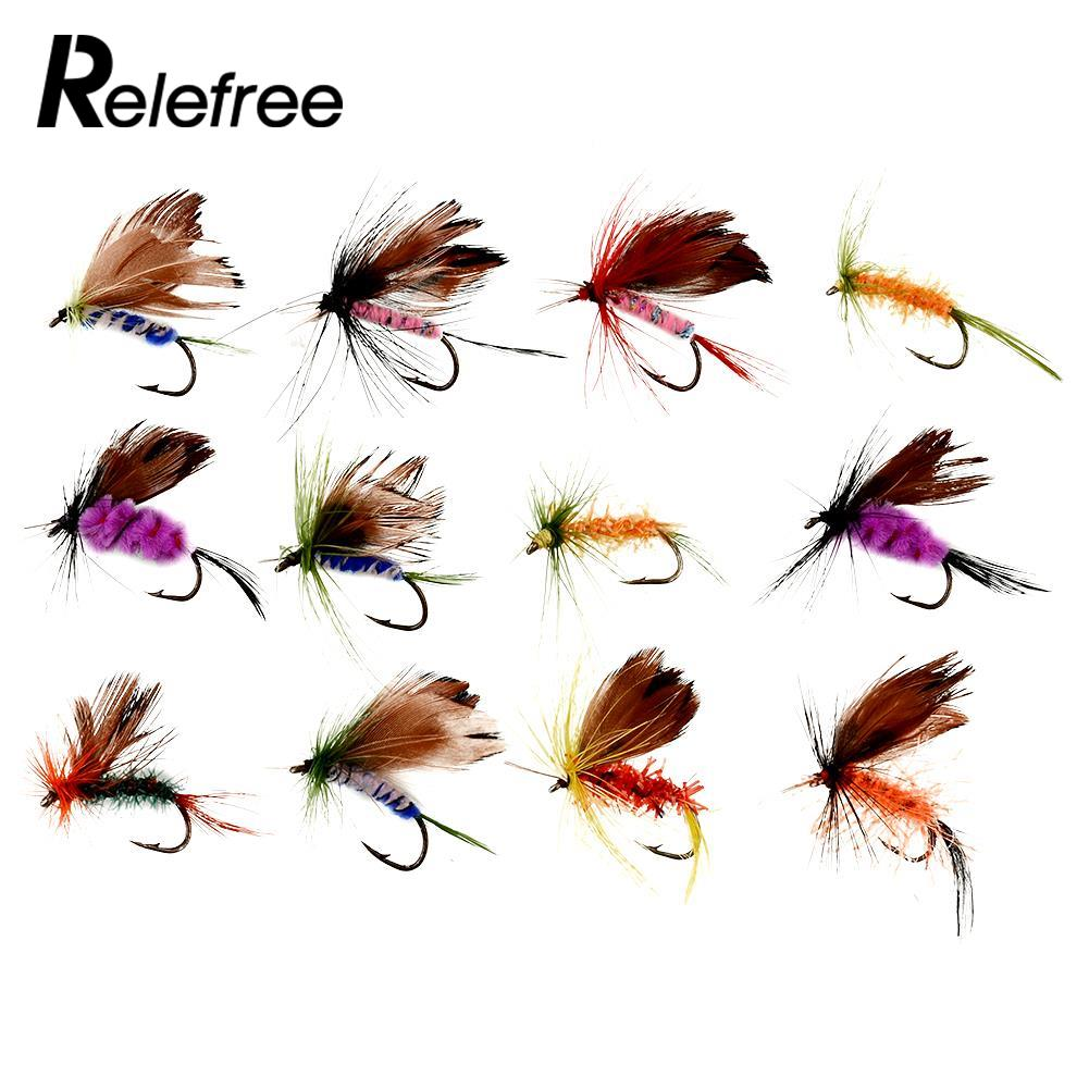 New 12 pcs Various Dry Fly Hooks Baits Fishing Tackle Tool Trout Salmon Flies Fish Hook Multicolor Lures Tool salmon