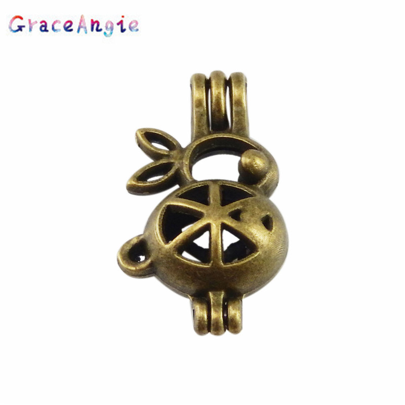 GraceAngie Beads Cage Locket Can Open Phase Box Pendant Necklace Accessories Alloy DIY Cute Animal Rabbit Shape Household Items image