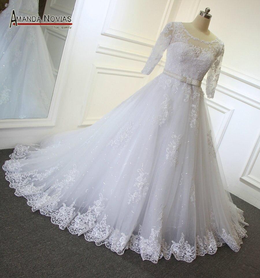 R157512 2019 Amanda Novias Vestido De Noiva De Renda Meia Manga Vestido Com Cinto In Vestidos De Noiva From Casamentos E Eventos On Aliexpress