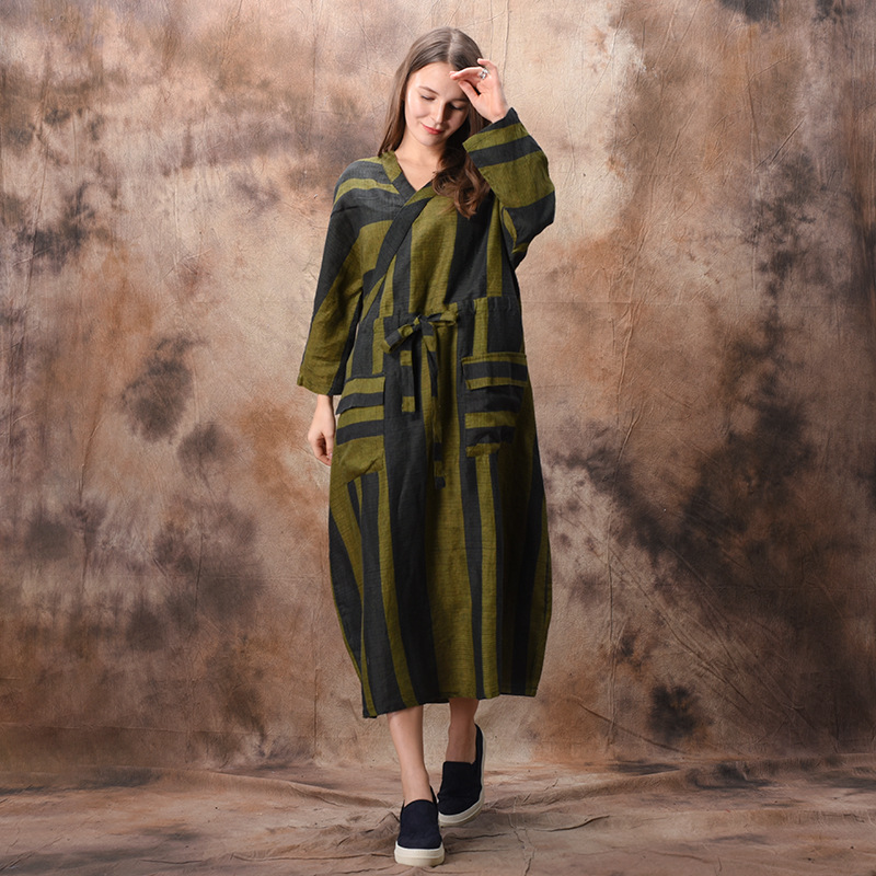 Johnature Striped Cotton Linen Bandage Dress Vintage V Neck Bat Sleeve 2019 Spring New Casual High