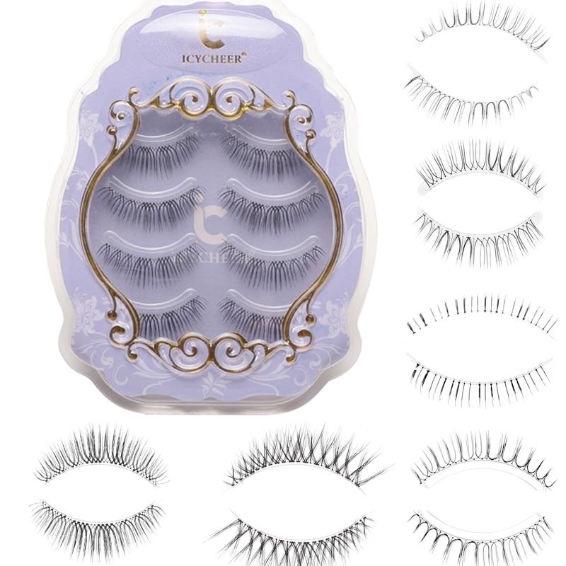 ICYCHEER Makeup Japanese Style Natural False Eyelashes Ultra Light Air Lashes Extension  Soft Upper And Lower Eyelashes Handmade