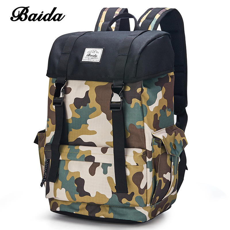 DAIDA Men Military Backpacks Cool Casual Daypacks Canvas Camouflage Laptop Backpack School Bags For Teenage Boy College Mochila wellvo men canvas laptop backpack large black school bag for teenage boys students notebook backpacks travel bags mochila xa38c