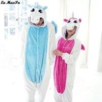 Halloween Adult Blue Pink Unicorn Pajamas Sets Flannel Hoodie Cartoon Hooded Women Pyjamas Animal Pajamas Sets