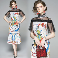 Europe will spot printed new women's clothing collar lace patchwork dress tail of the dress