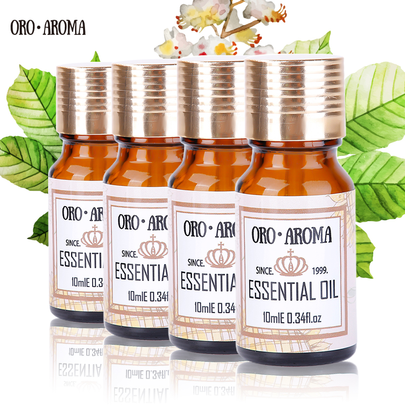 цена на Famous brand oroaroma Musk Sandalwood Patchouli Tea tree Essential Oils Pack For Aromatherapy, Massage,Spa Bath 10ml*4