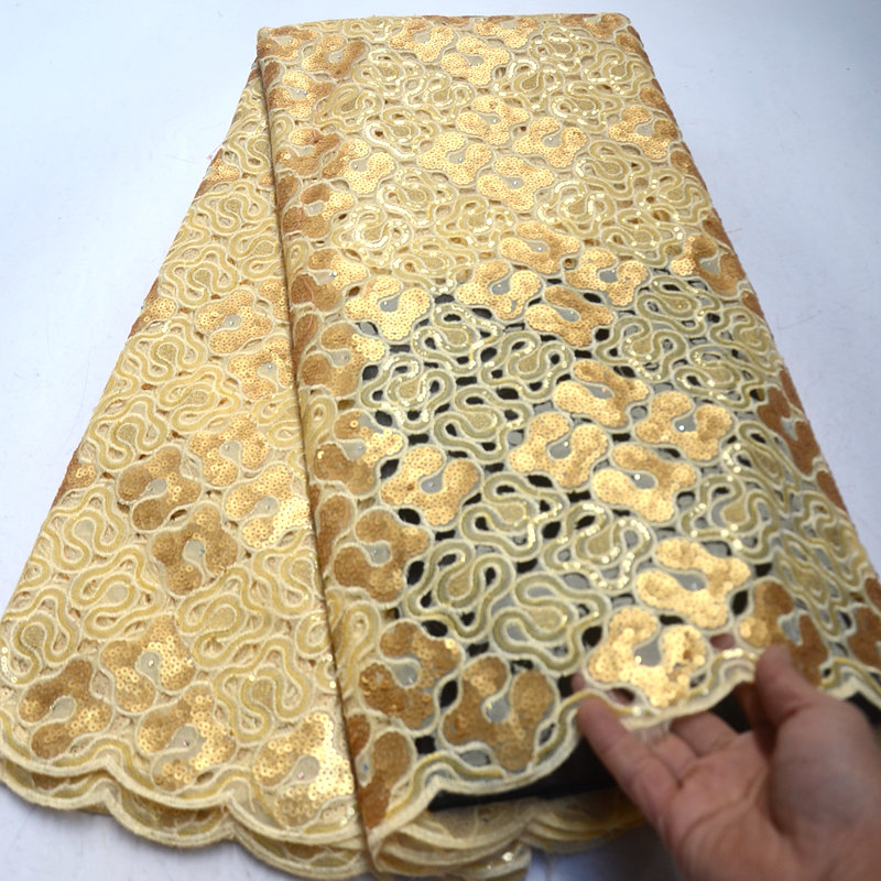2019 high quality african sequin organza lace fabric gold French tulle embroidery lace fabric with sequins