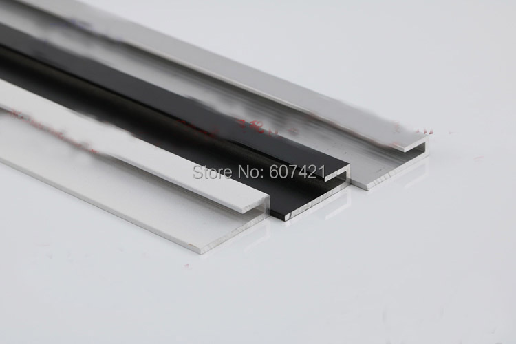 (Pack/2 Sets) Small Size 1M Long L Shape Wall Mounted Aluminum Track Anodized Finish For Wire Cable Displays