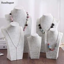 New Arrival Ice Grey Velvet Jewelry Model Rack Shelf Necklace Pendant Display Frame Portrait Props