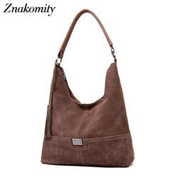 Znakomity новые женские сумки Хобо замша кожа сумка женская кисточка Повседневная сумка для женщин 2018 сумка через плечо