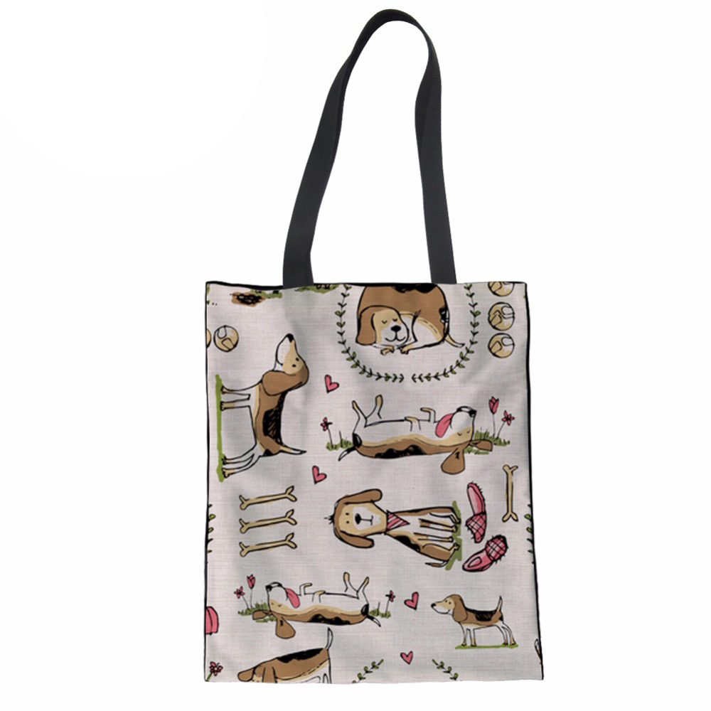 Girls Canvas Tote Bag Handmade 12-ounce Pure Cotton Shopping School Books Trip Bag Beagle Printing Women Shoulder Bag