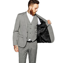 Custom made the groom suits tuxedos high qulity pure color two button men's wedding suits fashion groom suits(jacket+pants+vest)