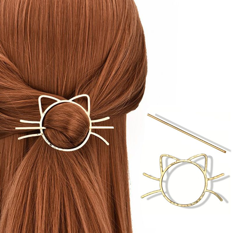 Ladies Geometric Meow Cat Pierced Hair Clip Cute Metallic Slide Comb Hairpin Shawl Pin Brooch Styling Ponytail Holder Bun Maker