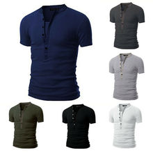 Hot Mens T-shirt Solid Slim Fit V Neck Short Sleeve Muscle Tee Summer Male Fashion Casual Tops Henley Shirts