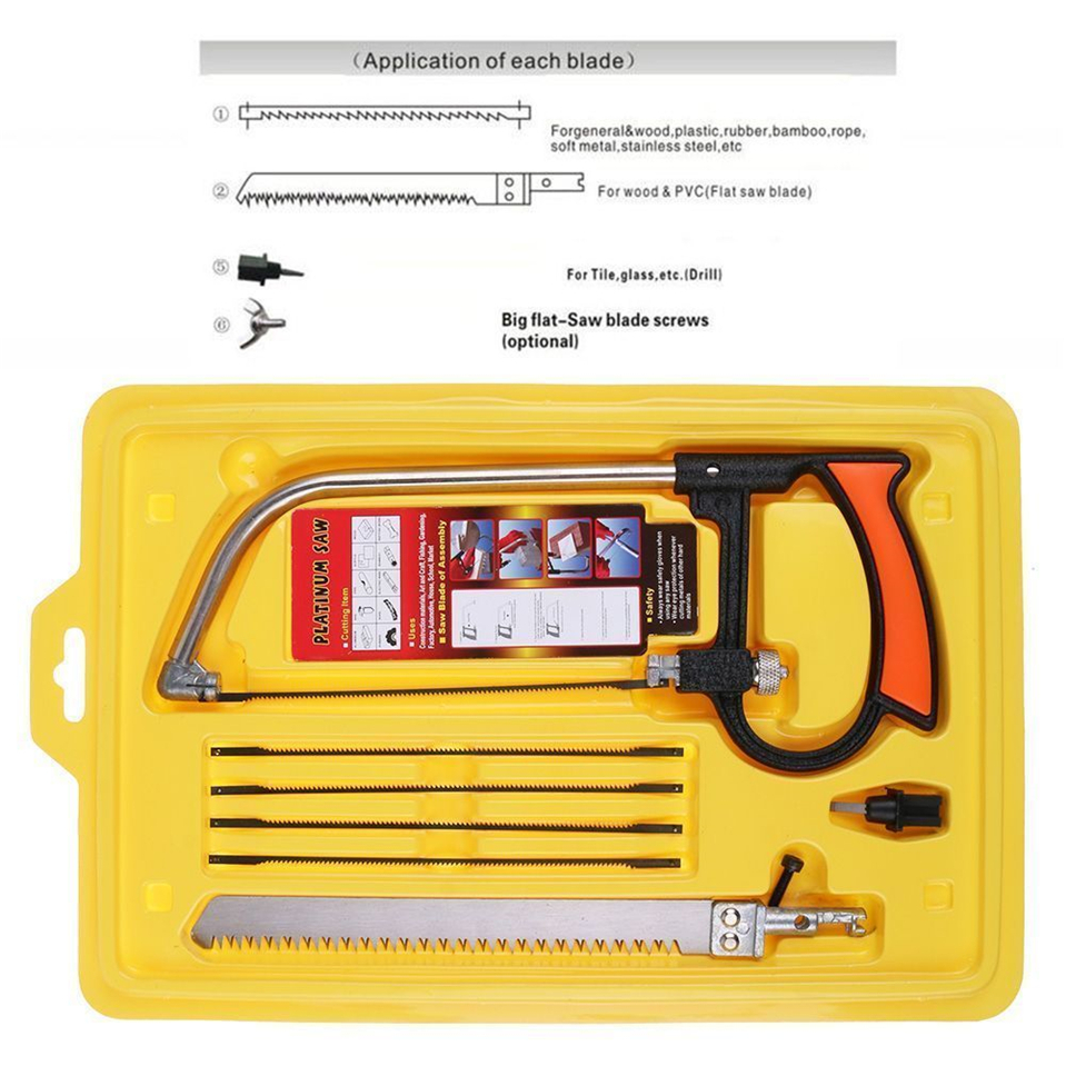 8 in 1 Magic Saw Multi Purpose Hand DIY Steel Saw Metal Wood Glass Saw Kit 6 Blades Woodworking Metalworking Model Hobby Tool image