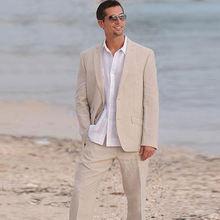 Повседневные бежевые льняные мужские костюмы пляжный Свадебный