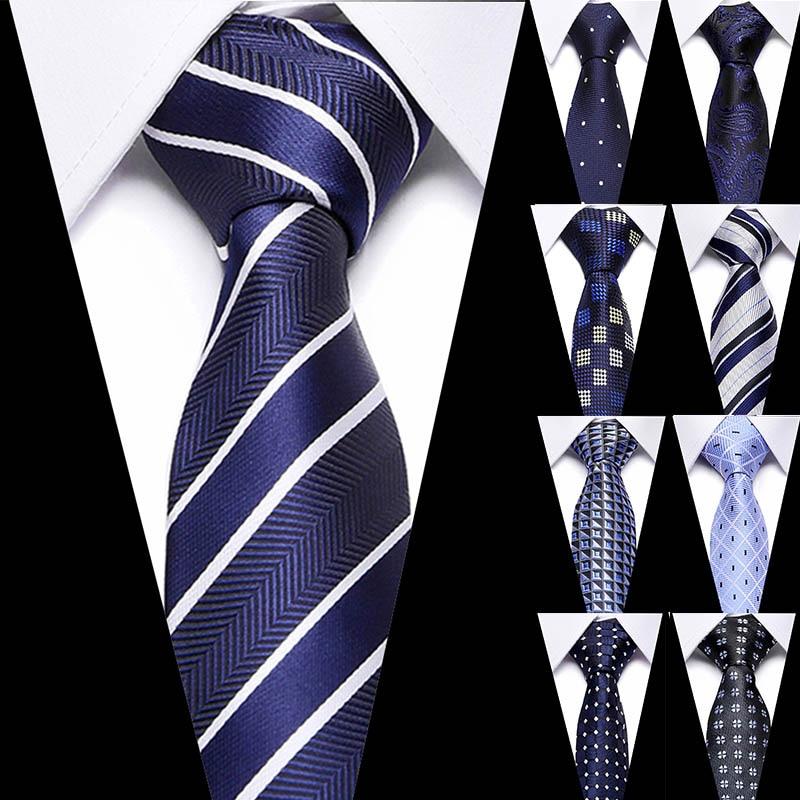 Male Dark Blue Striped  Luxury Tie 100% Silk Bussiness For Man Formal Wedding Party