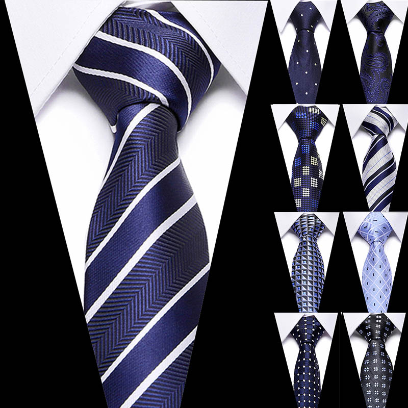 Male Dark Blue Striped Luxury Tie 100% Silk Bussiness For Man Formal Wedding Party