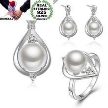 OMHXZJ Wholesale European Fashion Woman Girl Party Wedding Gift 925 Sterling Silver Stud Earrings+Ring+Necklace Jewelry Set JE05