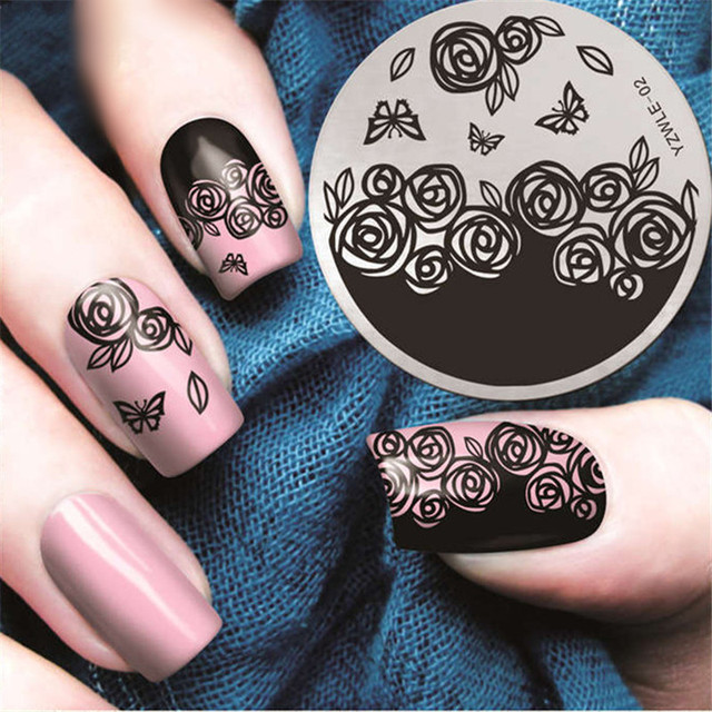 Rose Bloem Vlinder Nail Stempelen Platen Lente Nail Art Stempel
