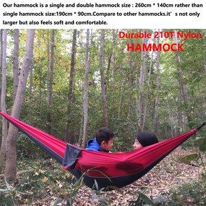 Image 5 - 210 トンのナイロンパラシュートハンモック軽量屋外キャンプポータブルシングルハンモックハンモックロープとハンモックカラビナ
