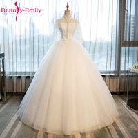 Красота Эмили белый Кружево блестками Бисер Свадебные платья 2017 длинный рукав Аппликации Высокая Бисер свадебные платья