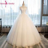 יופי אמילי לבן תחרה עם נצנצים ואגלי שמלות כלה 2017 אפליקציות שרוול גבוה מלא ואגלי שמלות הכלה