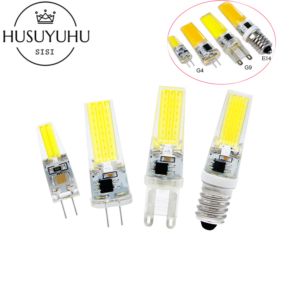 HUSUYUHU SISI LED Lamp G4 G9 E14 Dimmable 220V 6W Bombillas G4 G9 LED Bulb AC DC 12V COB Light Replace Halogen Chandelier Ligh