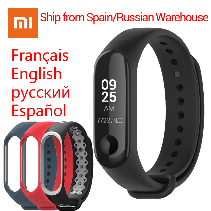 "English/Spanish Xiaomi Mi Band 3 Miband 3 Fitness Tracker Heart Rate Monitor Smart Band 0.78"" OLED Display 5ATM Waterproof Band(China)"