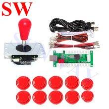 送料無料赤アーケードジョイスティックオーバル Balltop ジョイスティック + 24 ミリメートル/30 ミリメートルアーケードプッシュボタン + 2Pin USB エンコーダ + ワイヤーケーブル diy アーケードキット