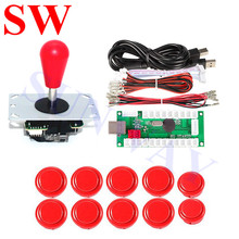 Free Shipping Red Arcade joystick with Oval Balltop+24mm/30mm Arcade push buttons+2Pin USB Encoder+Wire Cable for DIY Arcade Kit