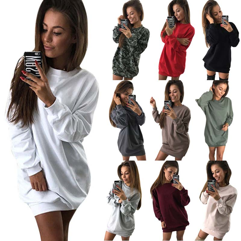 2018 New Autumn Spring Fashion Women Hoodies Long Sleeve O Neck Sweatshirts Autumn Winter Lady Warm Loose Pullovers FS99