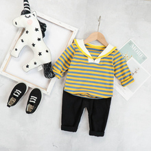 2019 Autumn  Baby Girls Boys  Clothing Sets Infant Toddler Clothes Suits Striped T Shirt Pants Kids Children Costume Suits 2017 new autumn baby girls boys minion suits infant newborn clothes sets kids coat t shirt pants 3 pcs sets children suits