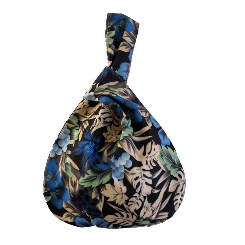 Flower Bag Cotton Fabric Small Wrist Bag Women Vintage Floral Hands Bags Japan Style Female Shopper Little Handbag Wholesale