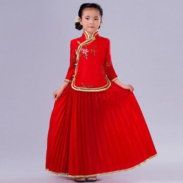 2 pcs High Quality Child Dance Costumes Girl Chinese Ancient Costume Kids Chinese Costume Chinese Folk Dress Blouse + Skirt