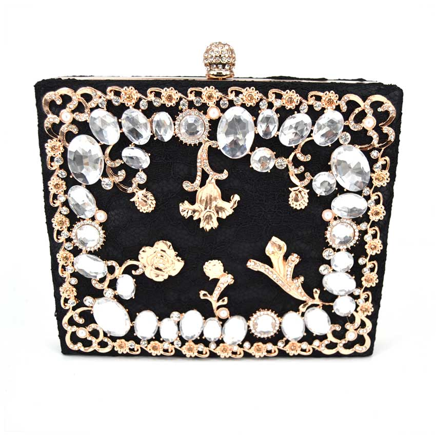 New Single Side Diamond Crystal Black Evening Bags Clutch