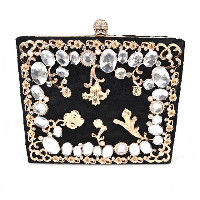 New Single Side Diamond Crystal Black Evening Bags Clutch Bag Hot Styling Day  Clutches Lady Wedding woman bag Rhinestones Purse 0a3e4b64502e