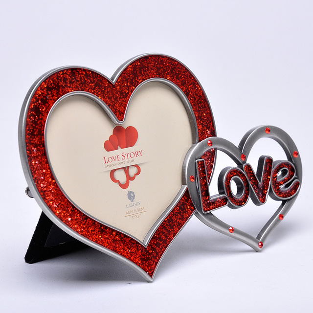New Fashion luxury Red Crystal heart Photo frame Lovely DIY Picture ...