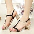 2015 Marca de Lujo de Las Mujeres de Alta Sandalias de Tacón grueso Cerrojo punta abierta sandalias de plataforma de trabajo zapatos Casuales tamaño 35-41 oferta especial