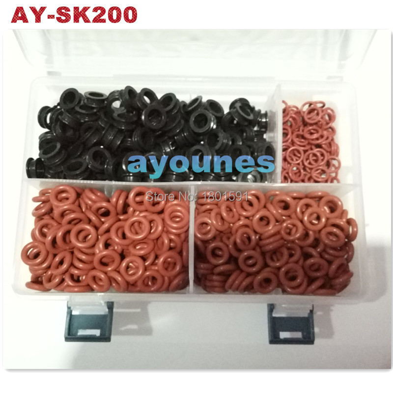 ФОТО 200unit/box universal rubber seal kits viton orings for fuel injector repair kits Hot sale in aftermarket (AY-SK200)