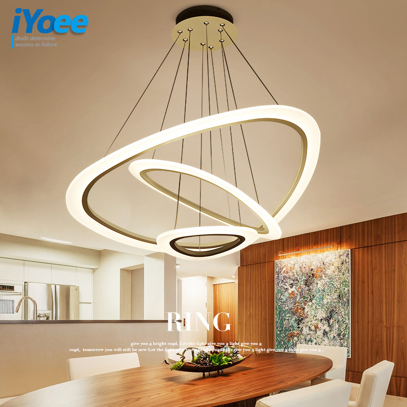 New Modern pendant lights for living room dining room 4/3/2/1 Circle Rings acrylic LED Lighting ceiling Lamp fixtures iYoee led modern pendant lights lamp for living room dining room 4 3 2 1 circle ring acrylic led lighting kitchen hanging lamp fixture