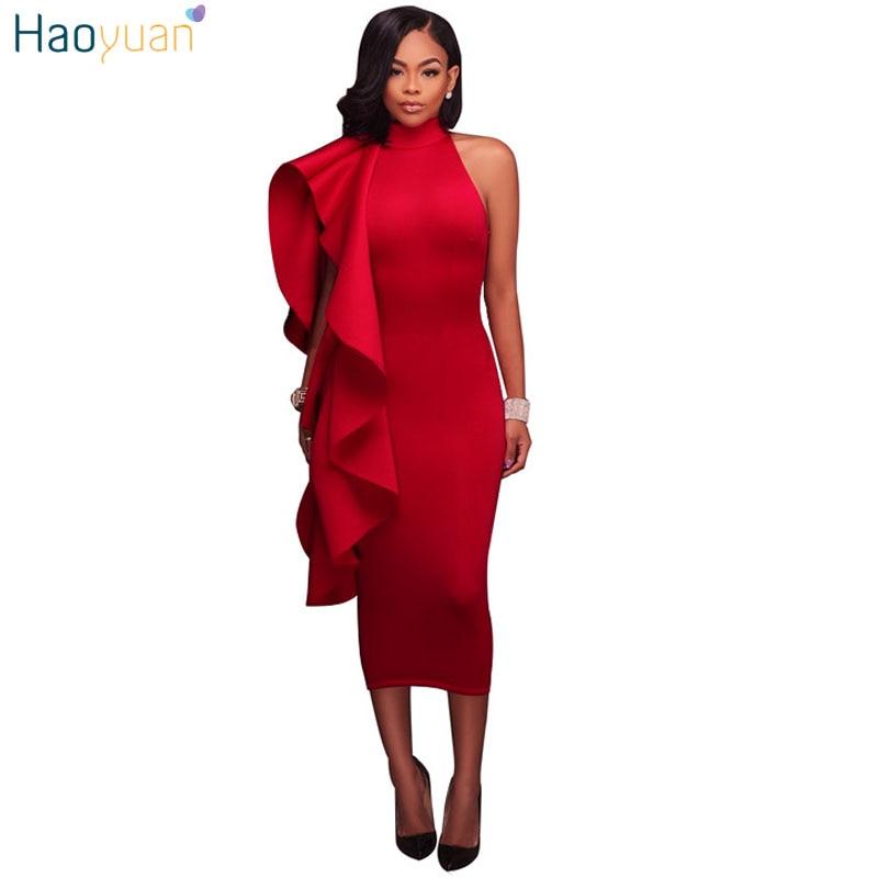 2ad464fecd4 Detail Feedback Questions about HAOYUAN Ruffle Red Bodycon Dress Women 2018  Summer Autumn Slim Sleeveless Party Dresses Back Zipper Off Shoulder Mid  calf ...