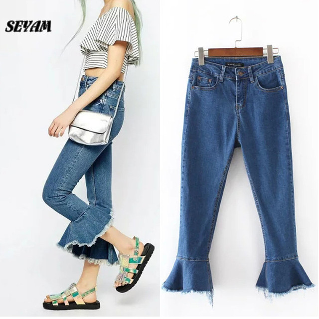 SEYAM Flare Jeans Femme Skinny Water Wash Ankle Length Middle Waist Wide Leg Jeans Women Pant WP0018