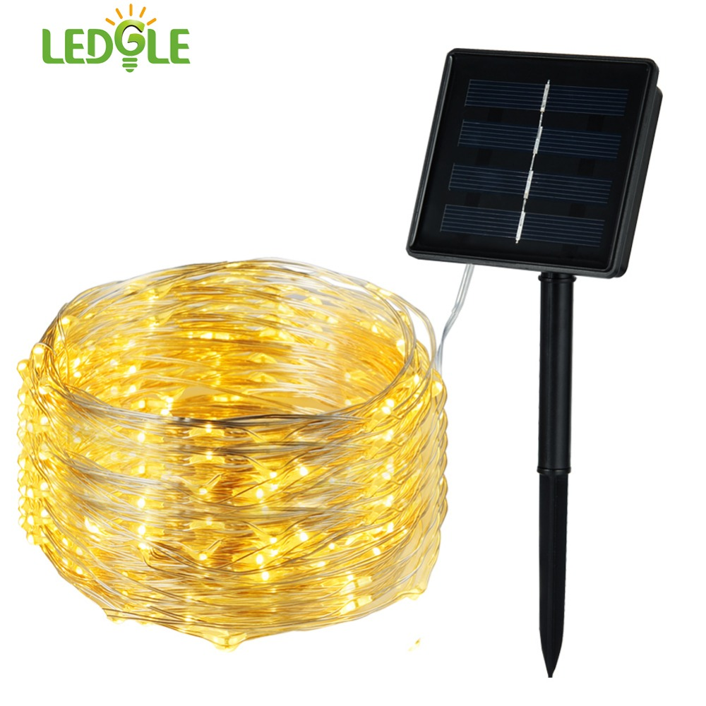 LEDGLE Solar Powered String Lights Waterproof LED Fairy Lights 200 LED Starry Copper Wire Lights Warm White