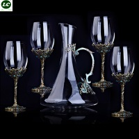 Wine Glasses High end Vintage Crystal Red Wine Suit Enamel Glass Goblet Christmas/Wedding Gift Wine Glass With Decanter