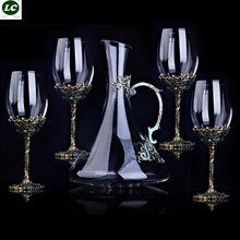 Glass 350ml Vintage Crystal Red Wine Cup Suit Enamel Goblet Creative Wedding Gift With Box