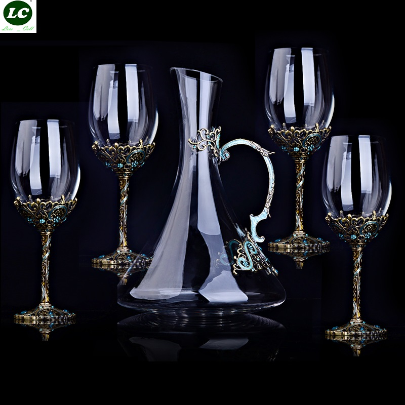 Wine Glasses High-end Vintage Crystal Red Wine Suit Enamel Glass Goblet Christmas/Wedding Gift Wine Glass With Decanter