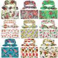 2017 Novo Bebê Recém-nascido Receber Cobertores Swaddling Cobertores de Algodão Floral Com Headband Fotografia props 90*90 cm PJ008